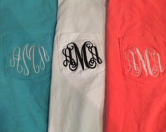 Monogrammed  Comfort Color Pocket T-shirt Short Sleeve