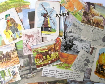 SALE On the farm paper craft kit: 25 pieces of vintage ephemera including die cuts, cards. Pack for scrapbook, collage, journaling EP389