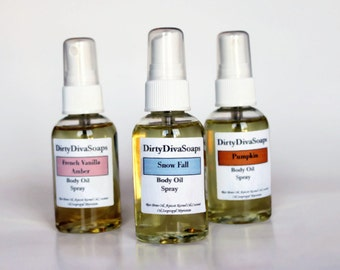 Moisturizing Body Oil Spray , Choose your Scent, Natural and Organic Dry Oil Blend