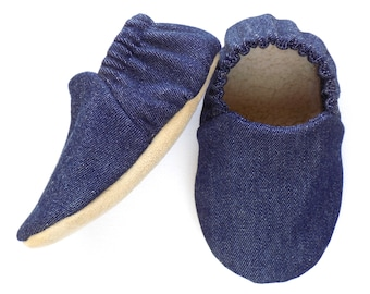 Denim Baby Boy Shoes, Baby Booties, Baby Soft Shoes, Slip On Baby Shoes, Baby Boy Gift