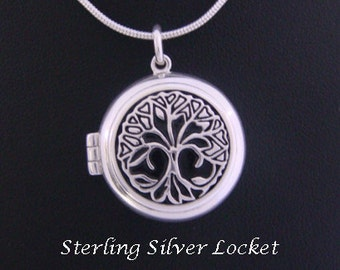 Tree of Life Necklace Locket depicting a Celtic Tree of Life Intricately Detailed - Lovely Tree of Life Necklace, Tree of Life Jewelry 060