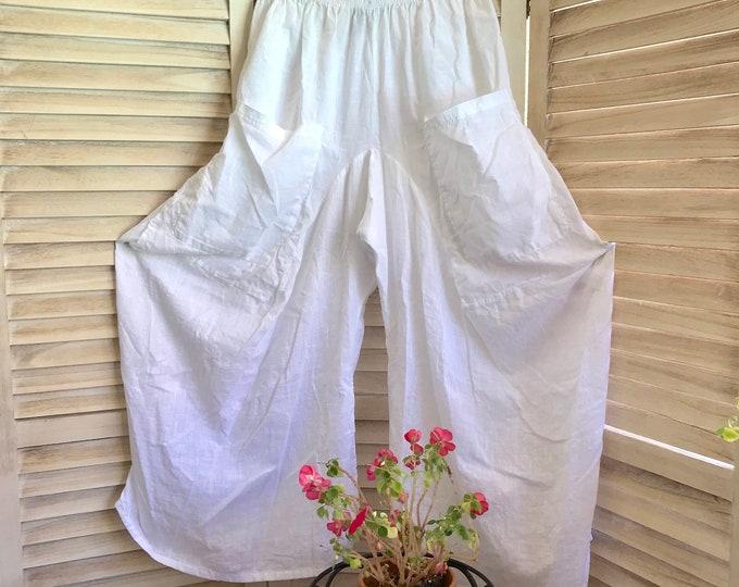 Size medium sheer white cotton lagenlook pant