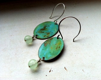 Vintage Verdigris Patina Earrings with bead