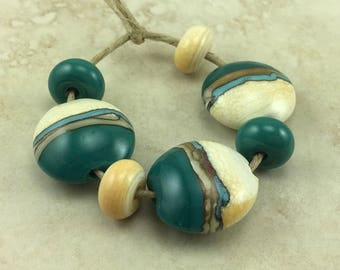 Desert Sands Lentil Lampwork Bead Set > Silvered Ivory Teal Turquoise Green Primitive Desert Native - SRA - I ship Internationally