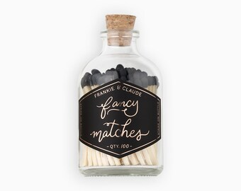 Colored tip matches. Black matches. Matches in a glass jar. Colored tip matches. Farmhouse decor. Birthday Gift. Home decor gift.