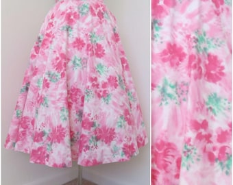 Vintage 1950s Pink Floral Full Circle Skirt - Womens Waist 26 (B2)