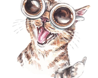 Happy Cat Watercolor Painting - Fine Art Print of a Cat Wearing Glasses, Coffee Lover Gift, Smiling Tabby Cat, Thumbs Up