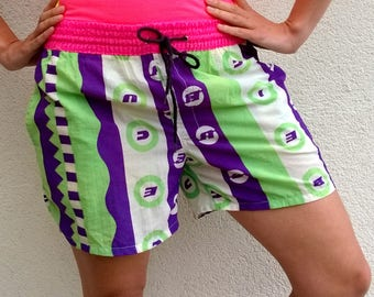 Colorful ICE CUBE summer shorts, pink workout shorts, vintage shorts, retro shorts, sport shorts, surfing shorts, M/S ( GP158)
