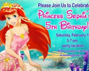 SALE Ariel Birthday Invitation, Ariel birthday Invitation, Little Mermaid birthday invitation - Digital file