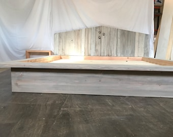 The Ash sun bleached driftwood finished platform bed with cottage recycled reclaimed wood headboard