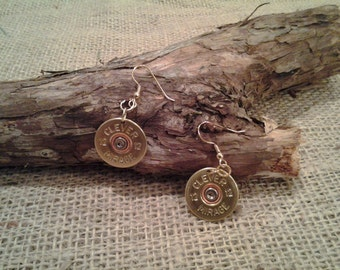12 Gauge Clever Mirage, Wire Earrings - Single or Pair - Hand Made From real shotgun shells