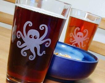 Octopus Pint Glass