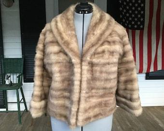 Vintage Mink Blonde Striped Short Jacket
