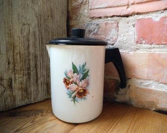 White Enamel Pitcher Floral Enamel Tea Kettle Enamel Kettle Teapot Vintage Enamelware USSR era Enamelware Farmhouse Decor Made in Latvia