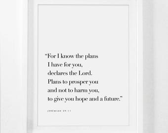 Jeremiah 29 11, For I Know The Plans I Have For You, Bible Verse Sign, Bible Verse Framed, Scripture Signs, Scripture Poster, Jeremiah Frame