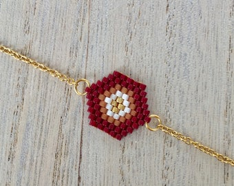 Hexagon bracelet, Burgundy, Brown and ecru