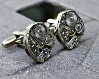 Steampunk Industrial Time Vintage Watch Part Cufflinks Cuff Links