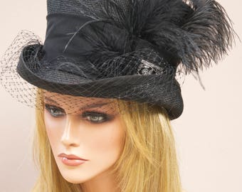 Derby Hat, Ladies Black Hat, Ascot Hat, Black Top Hat, Mad Hatter, Formal Hat
