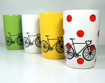 Tour de France. NEW. An Expertly Crafted & Fabulous Set of (4) 18oz Tumblers. Made to Order.
