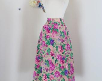 "1940s 50s Skirt - Floral Multicoloured Midi - Full Flare Skirt - Pockets - Pink Green Beige - Handmade Vintage - Size Extra Small 25"" Waist"