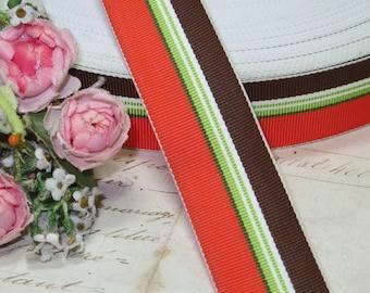 "7/8"" ORANGE LIME BROWN Stripe Vintage Grosgrain Ribbon Trim French Millinery Hat  Cocarde Pattern Printed  Hat Millinery Fedora Supply"