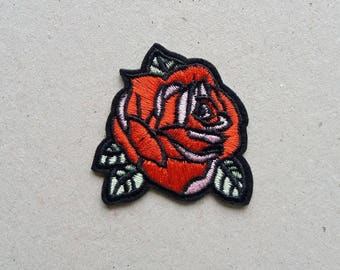 Embroidered patch, rose applique, iron on patch, flower patches, sew on patch, iron on applique, patch applique, patch rose, rose embroidery