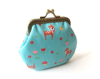Blue frame coin pouch, cotton fabric with deer print, bronze kiss lock clasp, metal change purse, mini bag