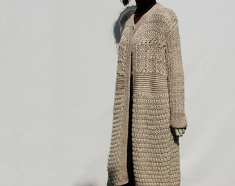 Sweater Coat-Cable Knit Coat-Knit Cardigan-Woman Chunky Sweater-Knitted Coat-Loose Wool Sweater-Cardigan Long Loose-Oversized Cardigan