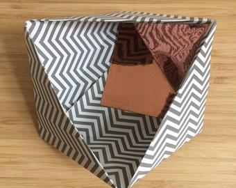 Paper Bowl Ornament || Grey Stripe Small