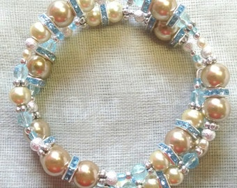 Pale Blue and Ivory Coil Bracelet