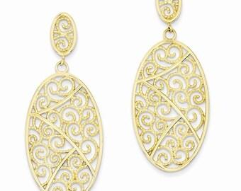 14k gold filigree fancy earrings, earrings, gold earrings, scroll design earrings, swirl earrings.