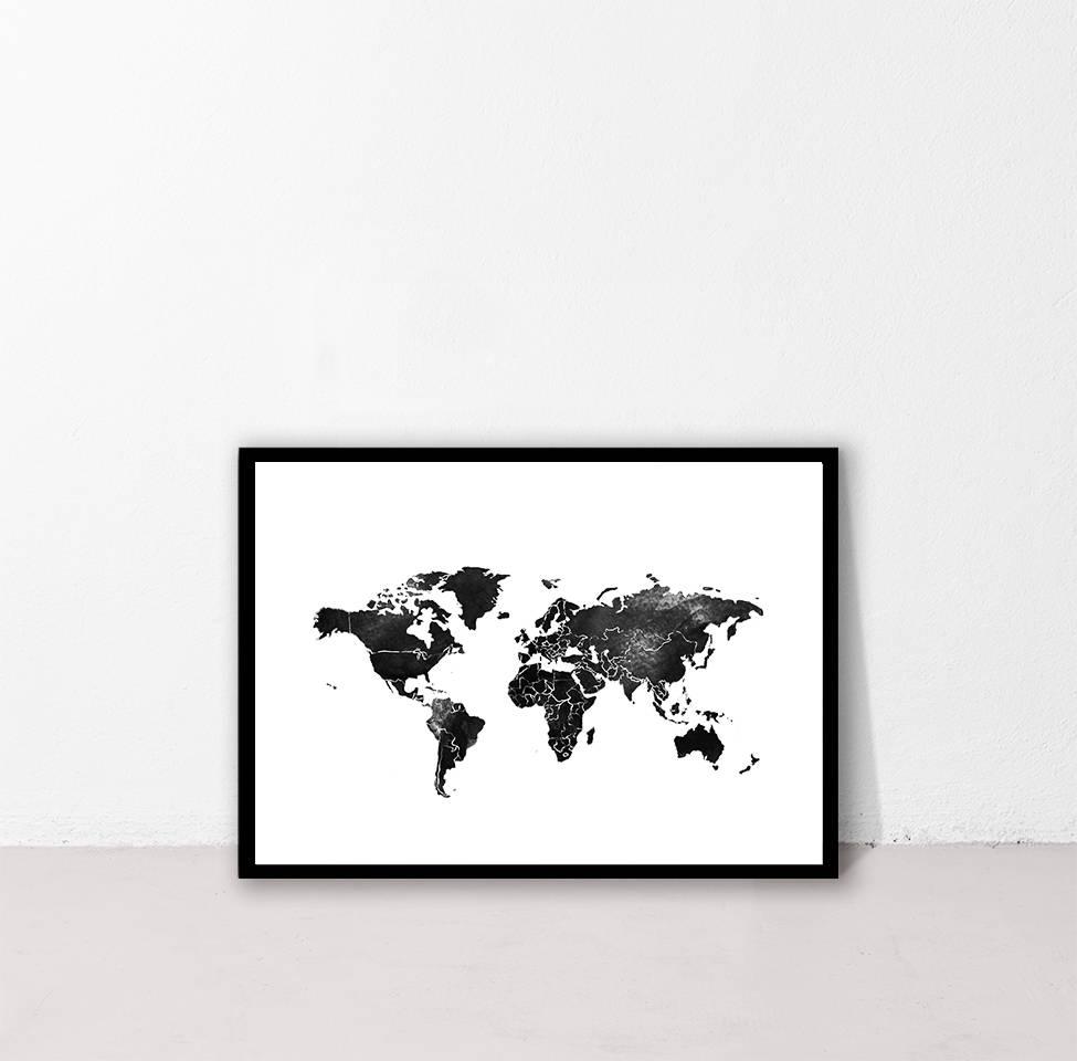 World Map Print Black World Travel Wall Art Printable Wall Art