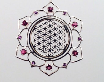 Sacred Geometry, Sterling Silver Flower of Life in Lotus with 12 Pink Sapphire and Amethyst Gems