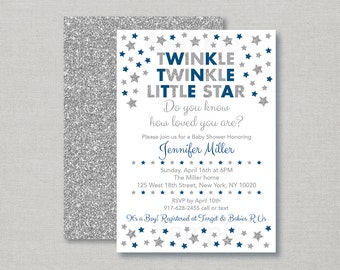 Twinkle Twinkle Little Star Baby Shower Invitation / Twinkle Star Baby Shower Invite / Silver Glitter Star / Navy & Silver / PRINTABLE A149