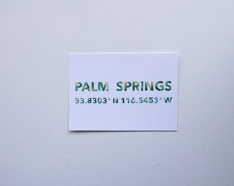 Palm Springs Coordinates Postcard
