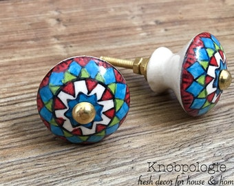 Clearance - SET OF 2 Imperfect Southwest Inspired Red Green Blue White and Black Geometric Ceramic Knob Drawer Pull - Tuscan Cabinet