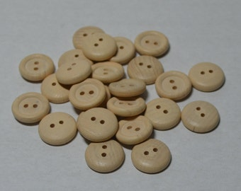 """5/8"""" Wood Buttons - Set of 25 - 5/8 Inch Button - Unfinished - Wooden Buttons - 1/8"""" Thick - DIY - Set of 25 - DIY - Clothes Buttons"""