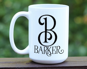 Initial Monogram coffee mug, Custom Coffee Mug, Personalized Coffee Cup, coffee mug with name, engagement gift, personalized wedding gift