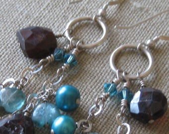 Blue Apatite, Chunky Smokey Quartz and Freshwater Pearl Chandelier Earrings