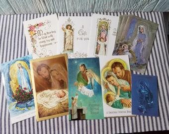Vintage carte de voeux catholique, éphémères Vintage, Vintage carte de voeux, carte de Bouquet spirituel, neuvaine, carte de Noël carte, catholique de masse