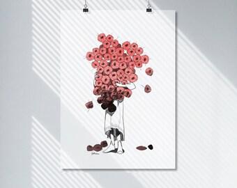 Crimson Flower Child Print. Wall Art. Digital Download. Sketch Print. Modern Poster. Contemporary Apartment Decor.