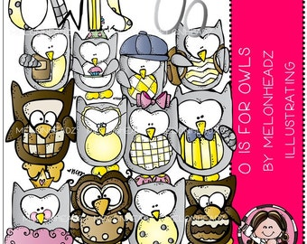 O is for Owls clip art - Combo Pack