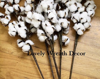 12  Cotton boll branches ,cotton boll stalks , faux cotton boll , wedding cotton bolls , Cotton sprays ,country rustic