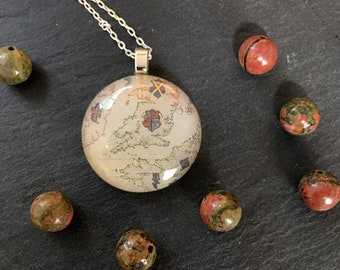 """Fused Glass and Sterling Silver Vintage Map Pendant_ """"The Kingdom United"""""""