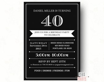 40th Birthday Invitations // Printable 40th Birthday Invitation for Men // Birthday Invitation for Men // 40th Birthday Invitation // 50th