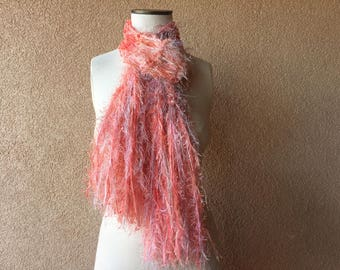 Coral Scarf, Skinny Boho with Deep Peach Scarf Taupe and Coral Scarf Coral and Grey Cream Coral Pink Scarf Fringe Women Accessories