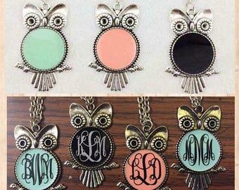 Owl Necklace, Owl Jewelry, Owl Necklace Jewelry, Monogram Jewelry