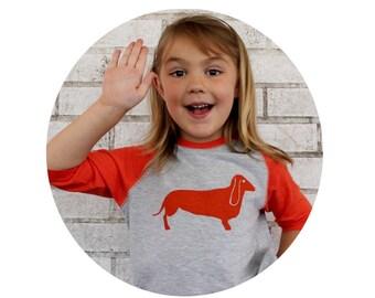 Hot Dog Youth Dachshund Baseball Tshirt,  Toddler Clothing, Wiener Dog, Vintage Style, Family Pet, Screenprinted Shirt, Contrast Sleeve Gift