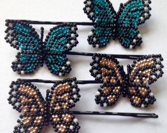 Beaded Butterfly Bobby Pins