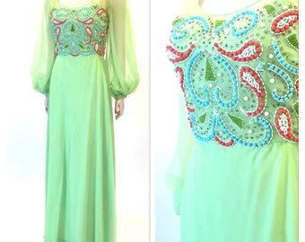 Beaded bodice mint green evening gown | bishop sleeves | xs/sm